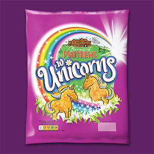 Visual of the packaging of the frozen breaded Turkey Unicorns.