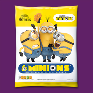 Visual of the packaging of the frozen breaded Chicken Minions.